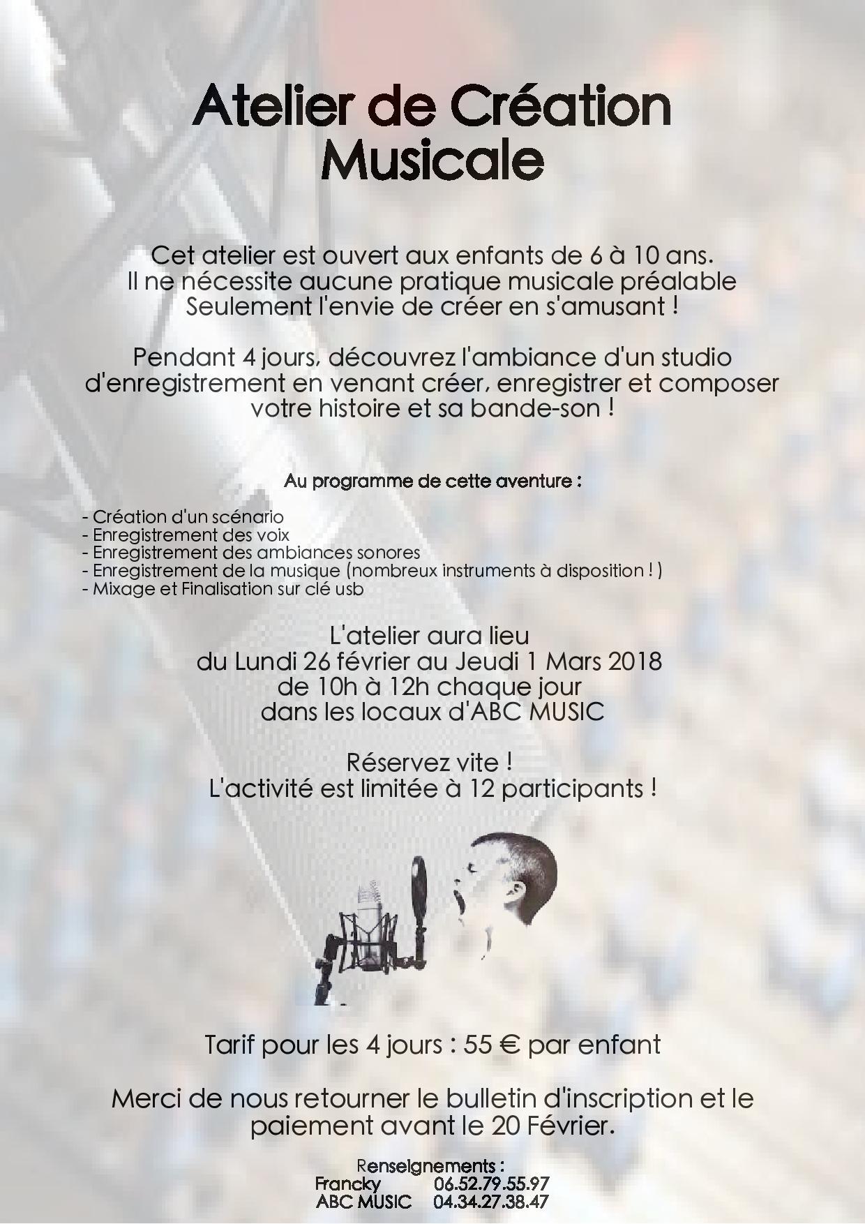 Atelier de Création Musicale éveil musical à Narbonne